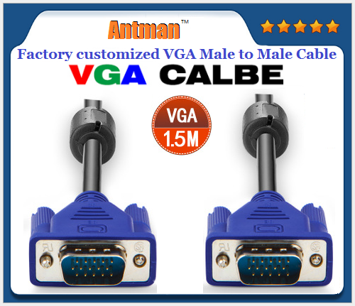 Factory High Quality Customizable 15PIN HDMI VGA cable Male to Male Cord 1m 1.5m 1.8m 3m 5m 10m 15m 20m 30m for computer
