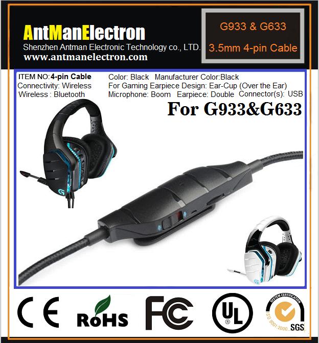Replacement Braided 3.5Mm Cable 1.5M 4 Pin For Logitech G933 /& G633 Artemis Spec