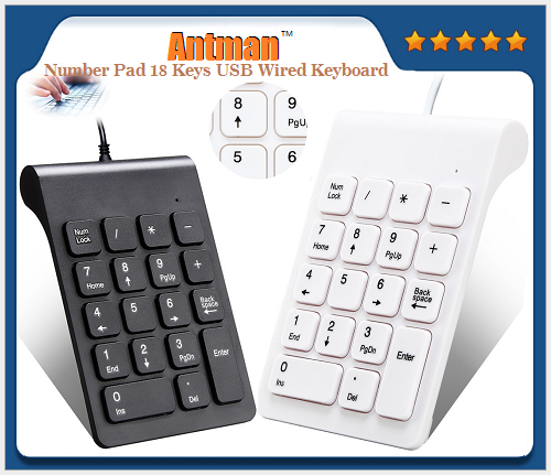 Number Pad 18 Keys USB Wired Mini Universal Keyboard for Laptop Desktop PC