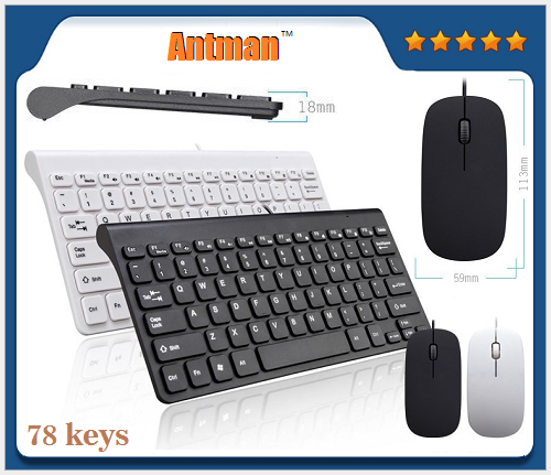 Hot Sale 78 KEYS Portable ABS Mini USB wired mouse and Keyboard Set